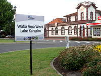Waka Ama signage Victoria Street Cambridge New Zealand