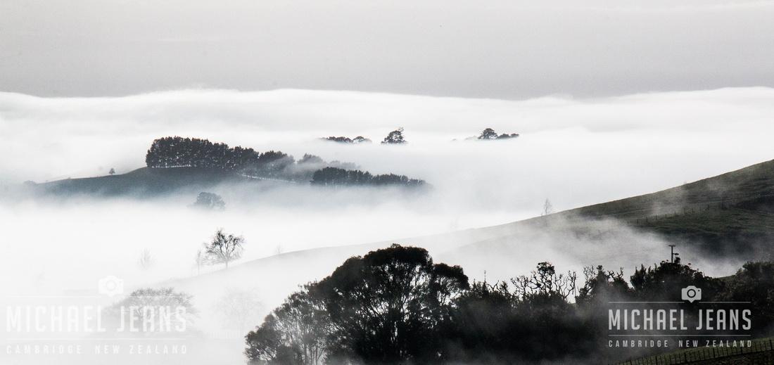 From Taotaoroa Road in the Maungakawa Hills, Waikato, looking north east towards the Hobbiton Movie Set some 7km distant. 2018-07-11 09.38.35