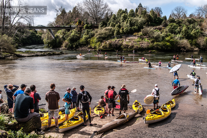 Cambridge to Hamilton Paddle Race 2013 at the Karapiro Stream confluence with the Waikato River, Cambridge NZ.